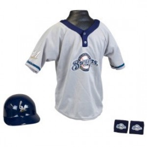 Milwaukee Brewers Kids (Ages 5-9) Batting Helmet and Jersey Top Set