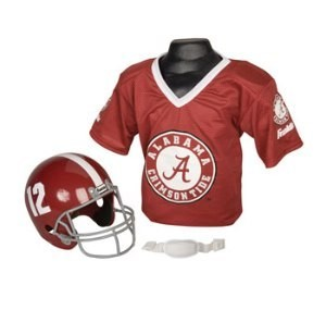 Alabama Crimson Tide #12 Kids (Ages 5-9) Replica Helmet and Jersey Top Set
