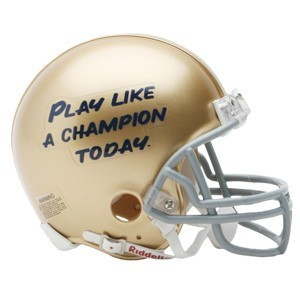 Notre Dame Fighting Irish Play Like A Champion Today (PLACT) Replica Mini Helmet