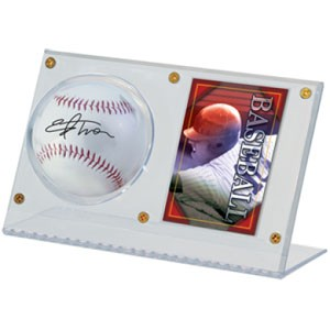 Acrylic Baseball and Card Holder