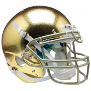 Notre Dame Fighting Irish Chrome Gold Texture with Metallic Faceguard XP Authentic Full Size Helmet