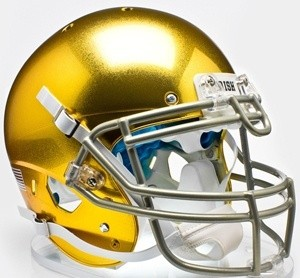 Notre Dame Fighting Irish Chrome Gold Texture with Metallic Faceguard XP Replica Full Size Helmet NEW 2013