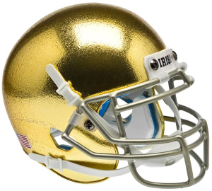 Notre Dame Fighting Irish Chrome Gold Texture with Metallic Faceguard Authentic Mini Helmet