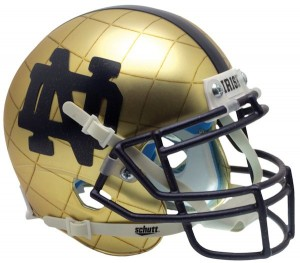 Schutt NCAA Notre Dame Fighting Irish 2014 Throwback Indianapolis Shamrock HydroSkin Authentic XP Mini Helmet