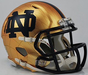 Riddell NCAA Notre Dame Fighting Irish 2014 Throwback Indianapolis Shamrock HydroSkin Speed Mini Football Helmet