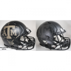 Riddell NCAA Texas A&M Aggies 2015 Matte Black Reflective Decal Revolution Speed Authentic Full Size Helmet