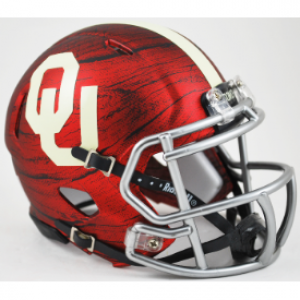 Riddell NCAA Oklahoma Sooners Bring The Wood Hydro Red Revolution Speed Mini Helmet