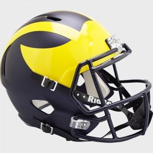 Michigan Wolverines 2020 Painted Matte Riddell Full Size Replica Speed Helmet