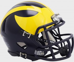 Michigan Wolverines 2020 Low Gloss Blue Riddell Mini Speed Helmet