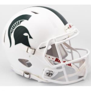 Riddell NCAA Michigan St Spartans 2017 Matte White Alt Authentic Speed Full Size Football Helmet