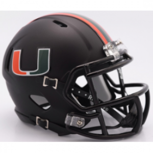 Riddell NCAA Miami Hurricanes 2017 Nights Black Alt Authentic Speed Full Size Football Helmet