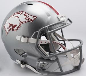 Riddell NCAA Arkansas Razorbacks 2017 Silver Gray Mask Tribute Replica Speed Full Size Football Helmet