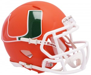 Miami Hurricanes 2019 AMP Riddell Mini Speed Helmet