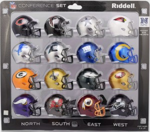 Riddell NFL NFC 2017 16pc Speed Pocket Size Football Helmet Set