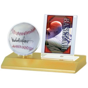 Light Wood Baseball and Card Holder