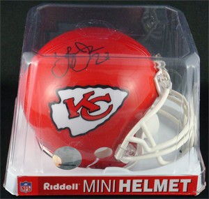 Larry Johnson Autographed Kansas City Chiefs Replica Mini Helmet