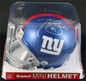Tiki Barber Autographed New York Giants Replica Mini Helmet