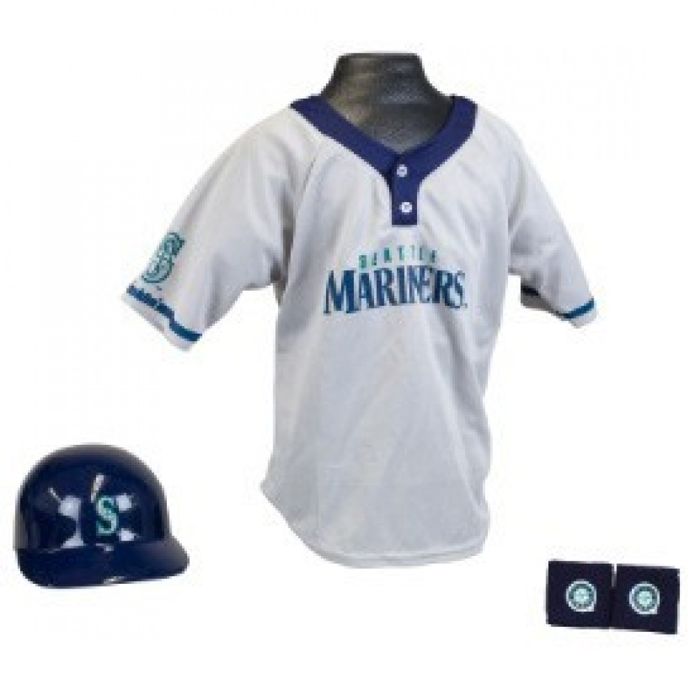 Seattle Mariners Kids (Ages 5-9) Batting Helmet and Jersey Top Set