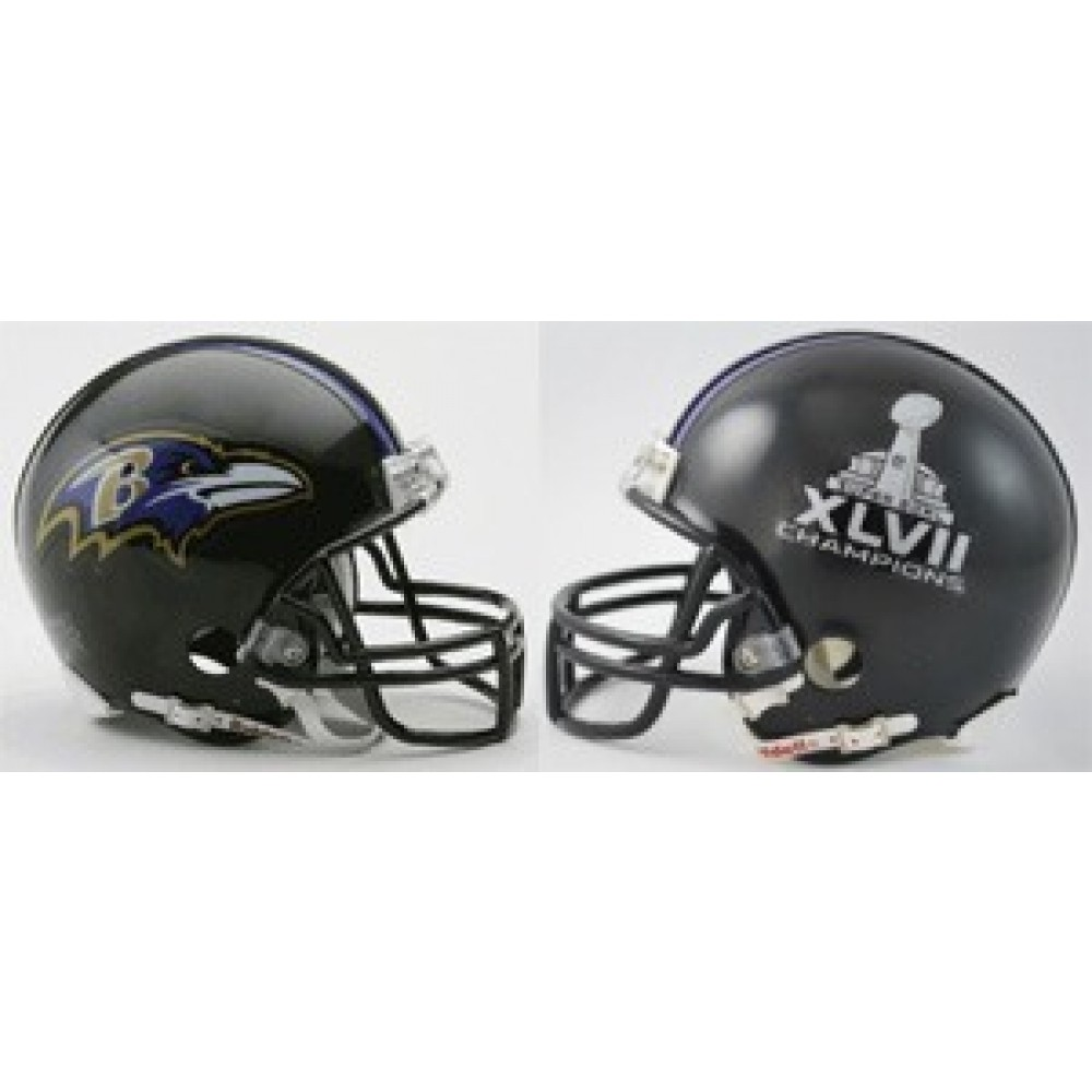 Baltimore Ravens Super Bowl 47 Champions Replica Mini Helmet NEW 2013