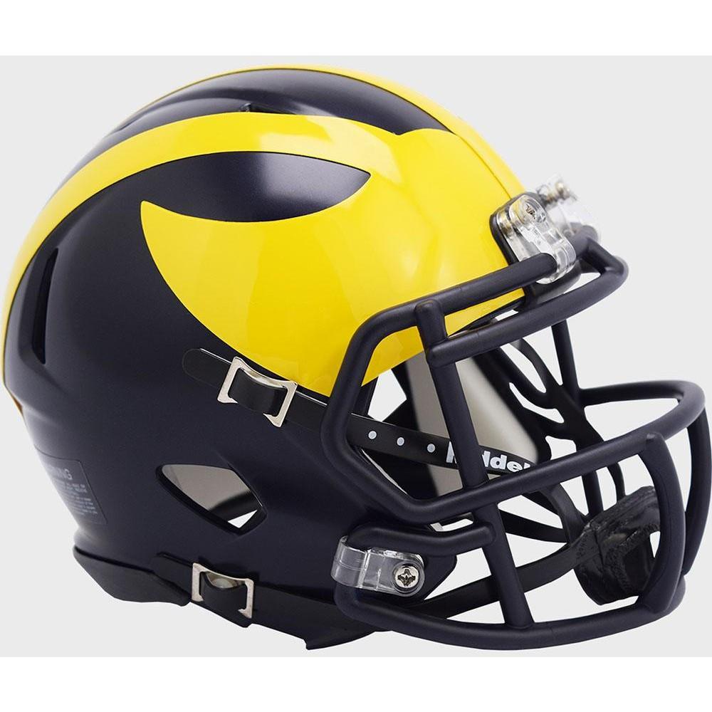Michigan Wolverines 2020 Low Gloss Blue Riddell Mini Speed Helmet