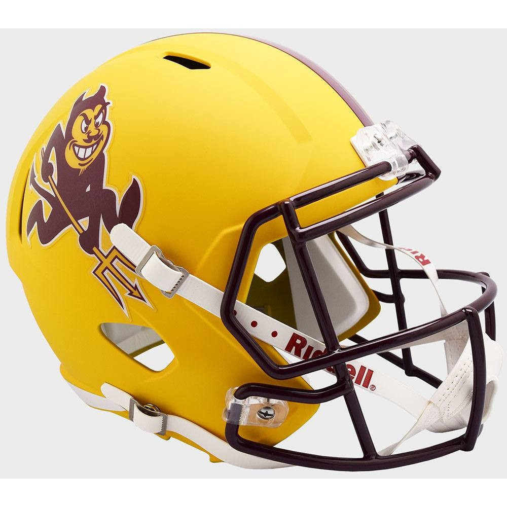 Arizona St Sun Devils 2019 Matte Yellow Sparky Riddell Full Size Replica Speed Helmet