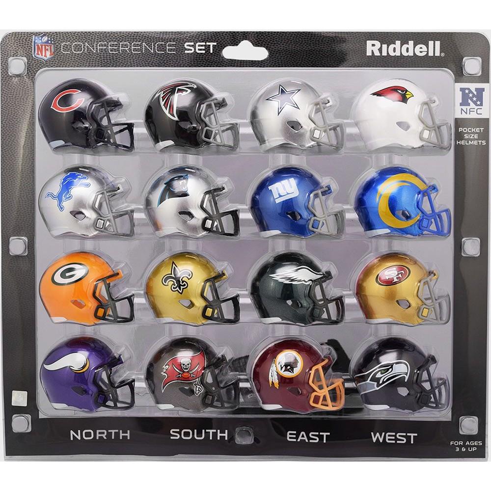 NFL NFC Conference 2020 Riddell Pocket Pro Speed Helmet Set 16pc