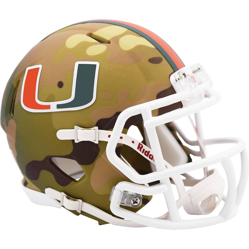 Miami Hurricanes 2020 Camo Riddell Mini Speed Helmet