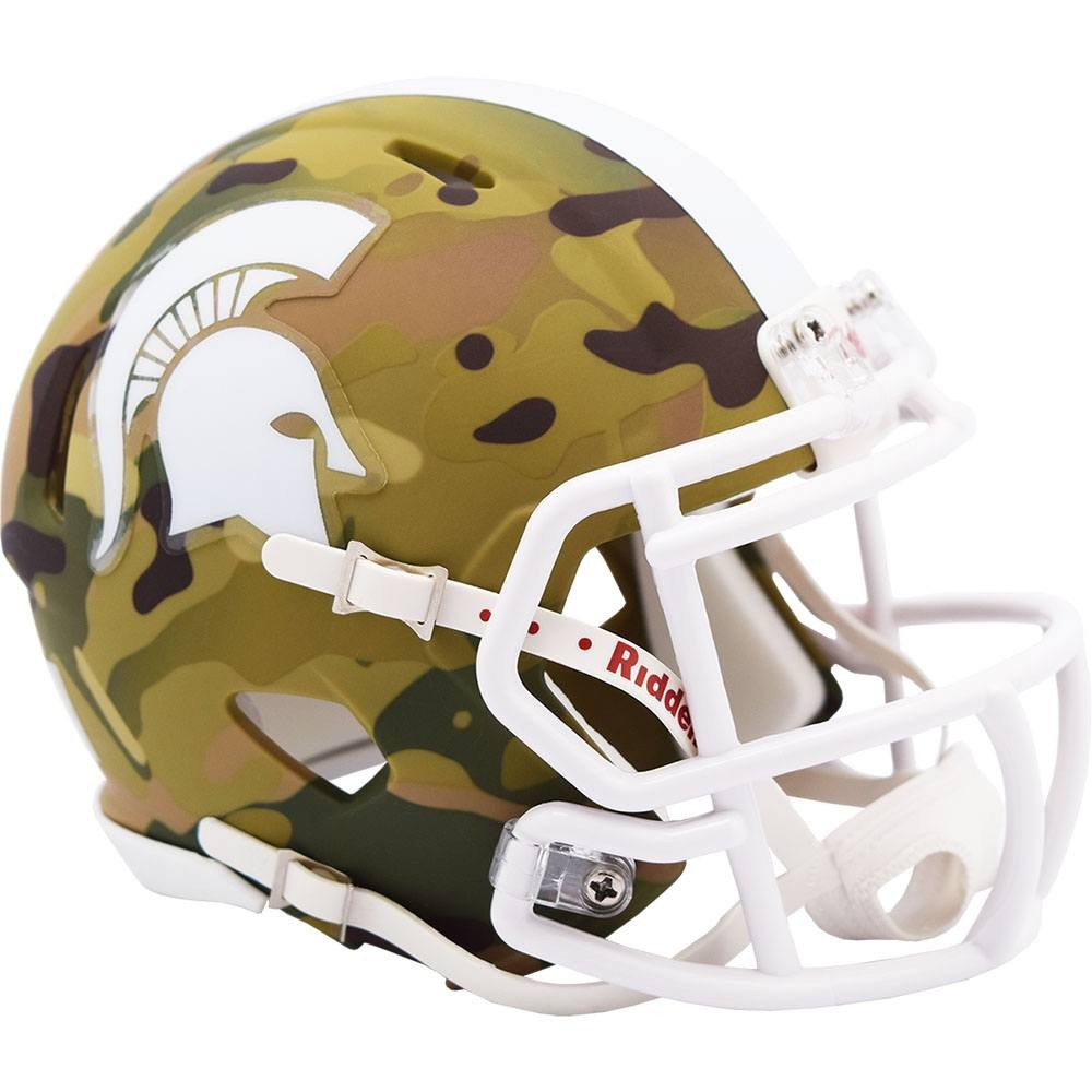 Michigan St Spartans 2020 Camo Riddell Mini Speed Helmet