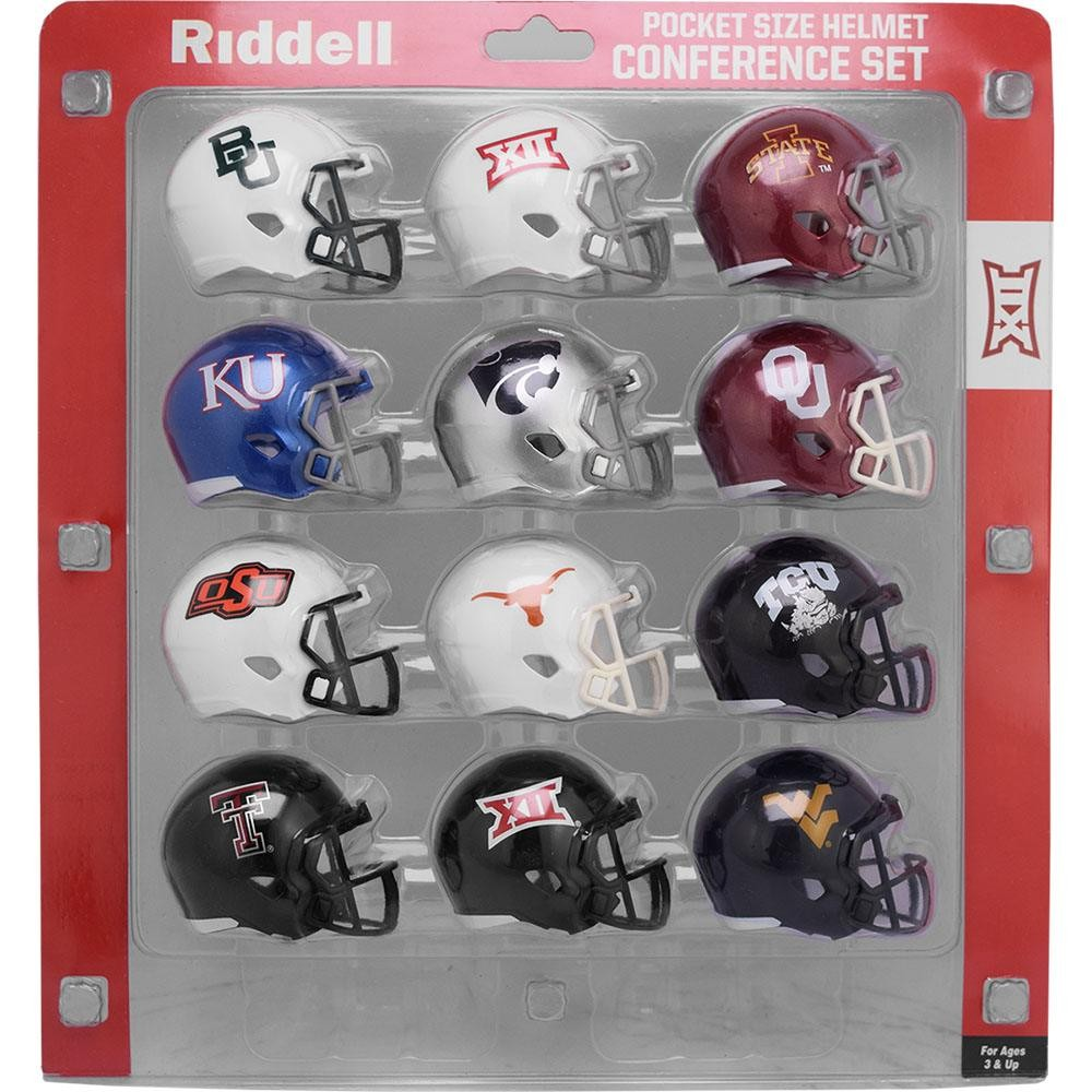 College Big 12 Conference New 2020 Riddell Pocket Pro Speed Helmet Set 12pc