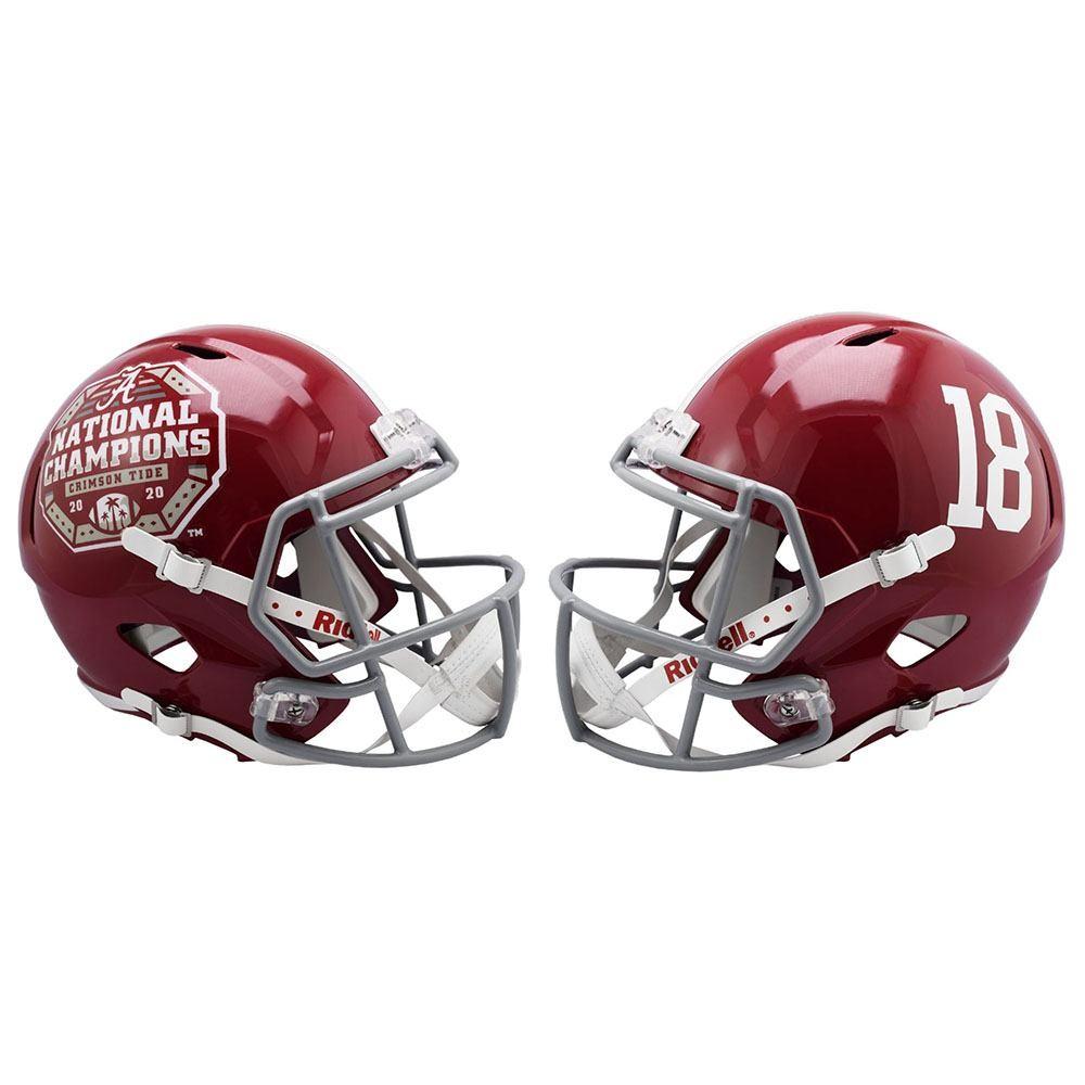 Limited Edition Alabama Crimson Tide #18 2020 CFP National Champions Riddell Mini Speed Helmet