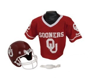 Oklahoma Sooners Kids (Ages 5-9) Replica Helmet and Jersey Top Set