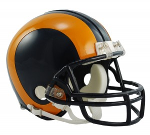 Saint Louis Rams 1981-1999 Throwback Replica Mini Helmet
