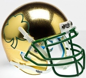 Notre Dame Fighting Irish 2013 Texas Chrome Gold Texture with Shamrock Authentic Mini Helmet NEW 2013