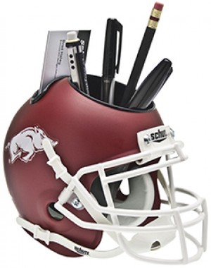 Schutt NCAA Arkansas Razorbacks Matte Crimson Authentic Mini Football Helmet Desk Caddy