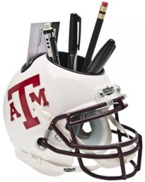 Texas A&M Aggies White Maroon Faceguard Authentic Mini Helmet Desk Caddy
