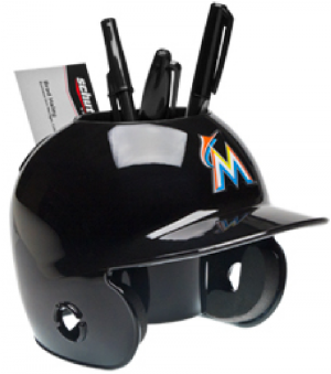 Schutt MLB Miami Marlins Authentic Mini Batting Helmet Desk Caddy