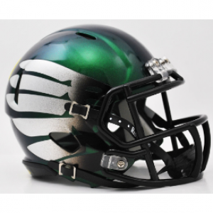 Riddell NCAA Oregon Ducks LiquidMetal Titanium Thunder Green HydroSkin Revolution Speed Mini Helmet