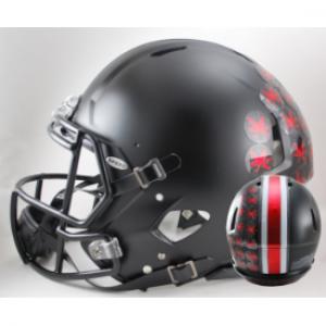 Riddell NCAA Ohio St Buckeyes Satin Black with Red Buckeyes Revolution Speed Authentic Full Size Helmet