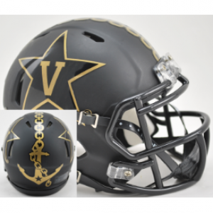 Riddell NCAA Vanderbilt Commodores Matte Black with Anchor Speed Mini Football Helmet