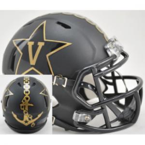 Riddell NCAA Vanderbilt Commodores Matte Black with Anchor Revolution Speed Mini Helmet
