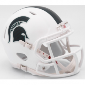 Riddell NCAA Michigan St Spartans 2017 Matte White Alt Revolution Speed Mini Helmet