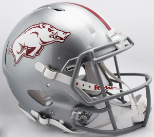 Riddell NCAA Arkansas Razorbacks 2017 Silver Gray Mask Tribute Authentic Speed Full Size Football Helmet
