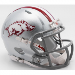 Riddell NCAA Arkansas Razorbacks 2017 Silver Gray Mask Tribute Speed Mini Football Helmet