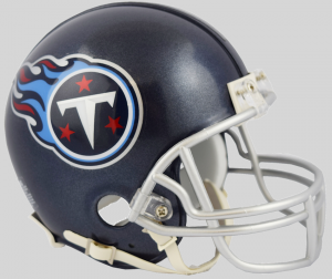 Riddell NFL Tennessee Titans 2018 Satin Navy Metallic Replica Vsr4 Mini Football Helmet
