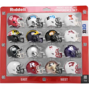 Riddell NCAA Big Ten 2018 16pc Speed Pocket Size Football Helmet Set
