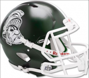 Michigan St Spartans Gruff Sparty Riddell Full Size Replica Speed Helmet