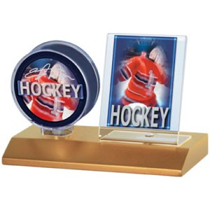Light Wood Puck and Card Holder