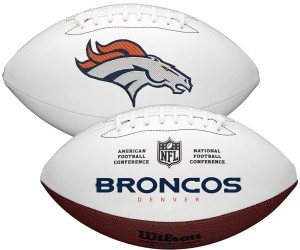 Denver Broncos White Wilson Official Size Autograph Series Signature Football