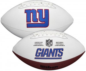 New York Giants White Wilson Official Size Autograph Series Signature Football